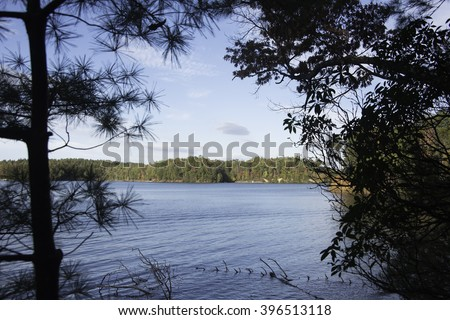 Lake James State Park in the Fall. - stock photo