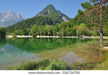 Lake Jasna near Kranjska Gora,Slovenia - stock photo