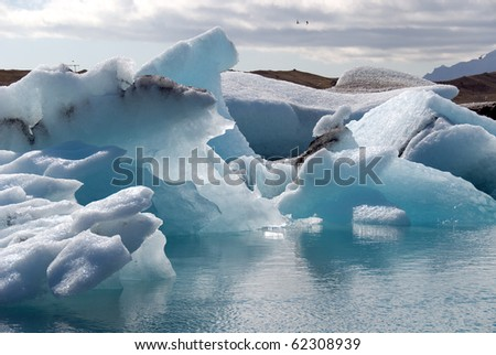 Lake Jokulsarlon iceberg blue near Vik