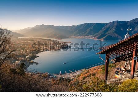 Lake kawaguchi and village viewed from Kawaguchiko Tenjoyama Park Mt. Kachi Kachi Ropeway - stock photo