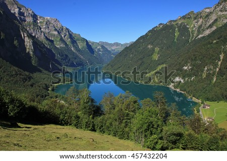 Lake Klontal in summer. View from Schwammhohe. Scene in the Swiss Alps. - stock photo