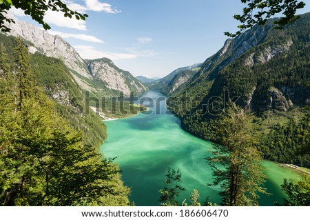 Lake Koenigssee near Berchtesgaden photographed from the Sagereckwand