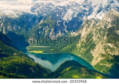 Lake Konigsee, King's Lake, in german Alps