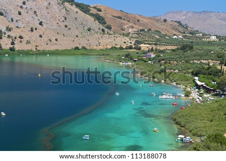Lake Kournas at Crete island in Greece - stock photo
