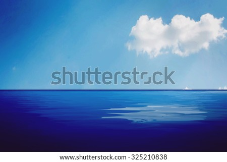 lake landscape with cloud blue sky reflection.