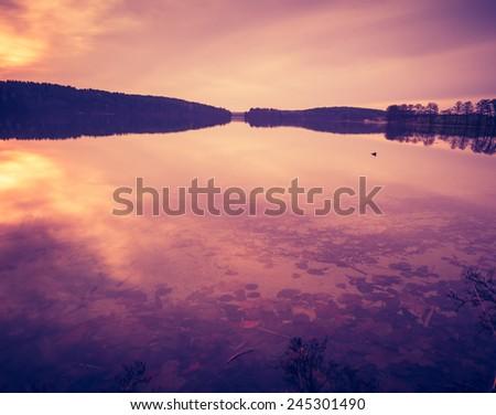 Lake landscape with vintage mood - stock photo