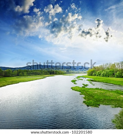 lake Lipno Czech republic - stock photo