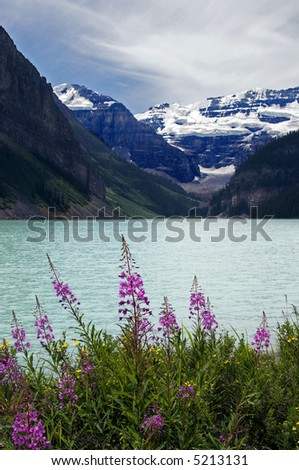 Lake Louise Alberta Canada with Flowers - stock photo