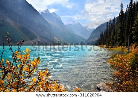Lake Louise, Banff National Park, Canada with autumn colors - stock photo