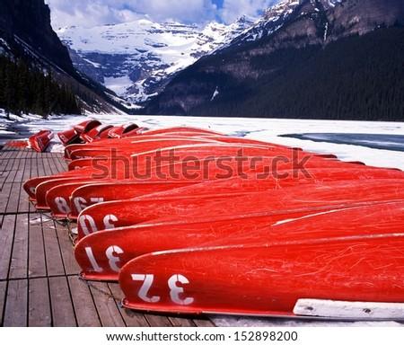 Lake Louise, Canoes, Banff National Park, Alberta, Canada - stock photo