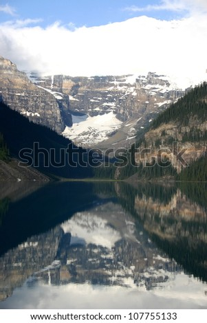 Lake Louise in Banff, in the Canadian Rockies is a very picturesque tourist destination.