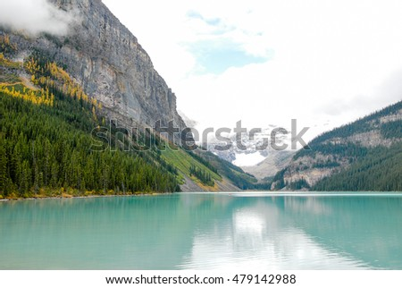 Lake Louise in the Cloudy Day in Autumn, Banff National Park, Canadian Rockies