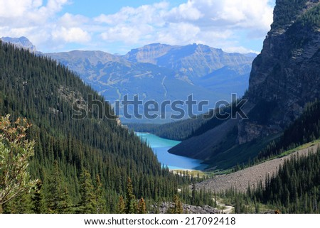 Lake Louise seen from the Plain of the Six Glaciers hiking trail, Banff National Park, Alberta, Canada - stock photo