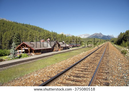 Lake Louise Train Station Banff National Park, Alberta, Canada - stock photo