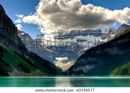 lake louise view in banff national park - stock photo
