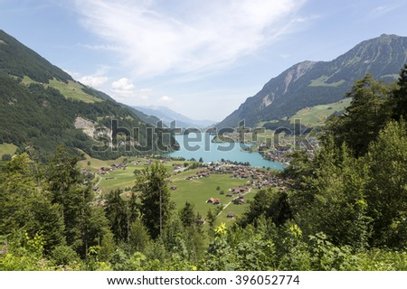 Lake Lungern in Central Switzerland near Lucerne - stock photo