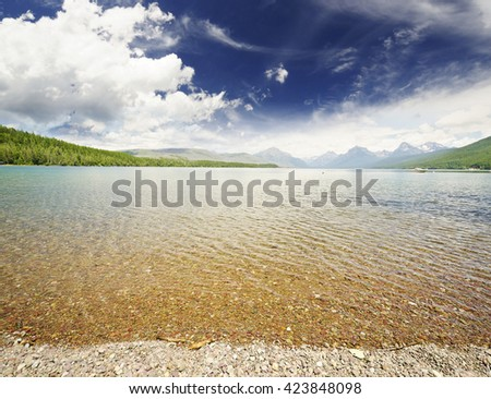 Lake MacDonald at Glacier National Park - stock photo