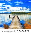 Lake Mahinapua in New Zealand - stock photo