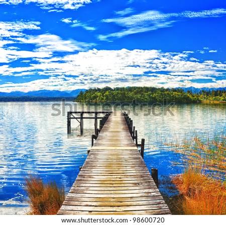 Lake Mahinapua in New Zealand - stock photo