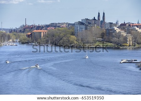 Lake Malaren and waterfront apartment buildings in Stockholm.