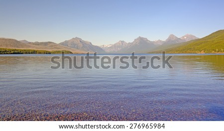 Lake McDonald Panorama in the Evening in the Fall in Glacier National Park in Montana - stock photo