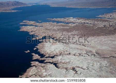 Lake Mead Aerial View, America, Arizona and Nevada - stock photo