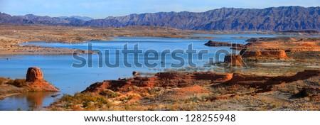 Lake Mead panorama - stock photo