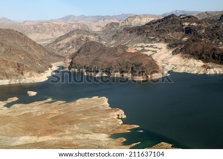 Lake Mead reservoir with drought visible on the Colorado River in Nevada and Arizona in the USA - stock photo