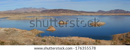Lake Mead supplies water to Nevada and Arizona states - stock photo