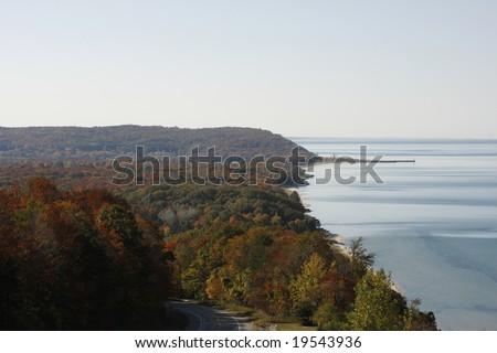 Lake Michigan coastline in Northwestern Michigan in the Fall. - stock photo