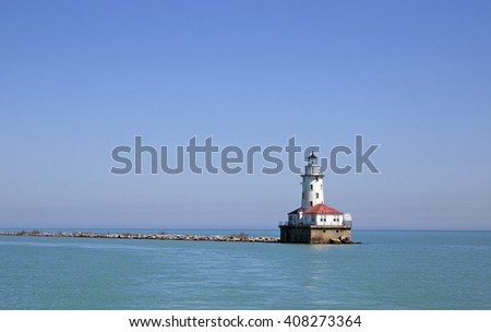 Lake Michigan old lighthouse near Chicago - stock photo