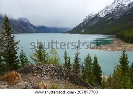 Lake Minnewanka Banff Canada - stock photo