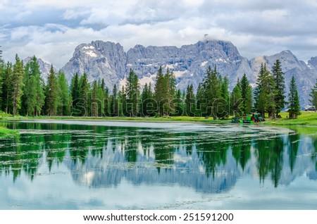 Lake Misurina (lago di Santa Caterina and Auronzo di Cadore), Province of Belluno, Veneto, Sexten Dolomites, South Tyrol, Italy - stock photo