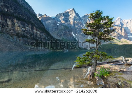 Lake Moraine at the morning banff canada  - stock photo