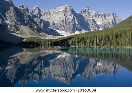 Lake Moraine in Banff National Park Canada