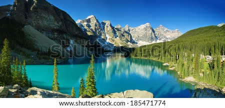 Lake Moraine panorama, Banff national park, Canada - stock photo