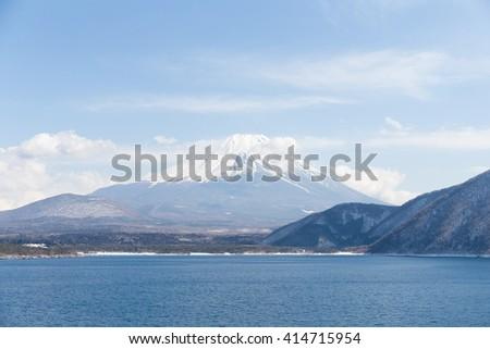 Lake motosu and mountain Fuji - stock photo