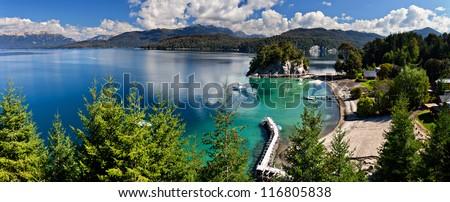 Lake Nahuel Huapi, Villa de la Angostura, Argentina - stock photo