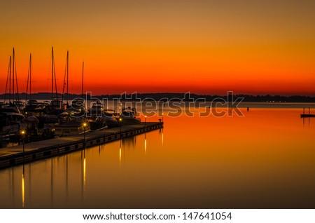 Lake Norman Sunset near Charlotte, North Carolina - stock photo