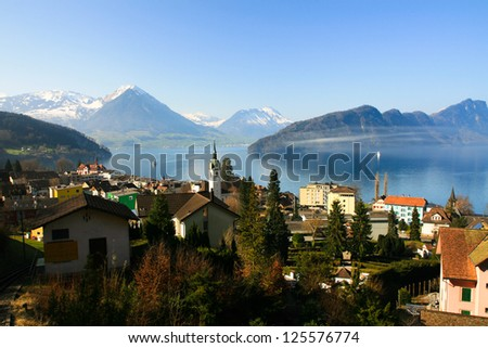 Lake of Lucerne view from Mount.Rigi, Switzerland - stock photo