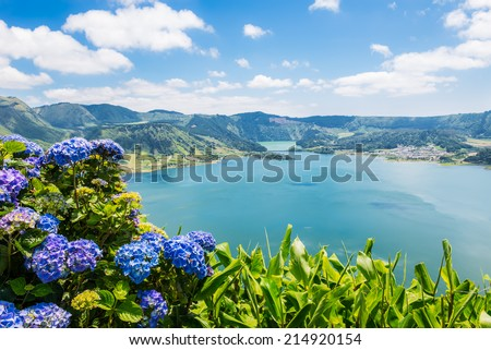 Lake of Sete Cidades with hortensia's, Azores, Portugal Europe - stock photo
