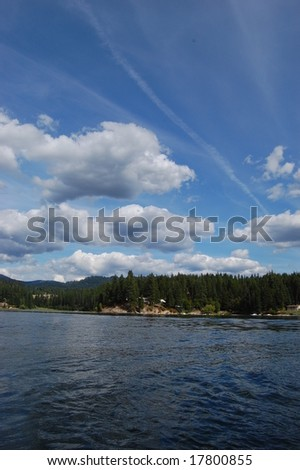 Lake on a summer day - stock photo
