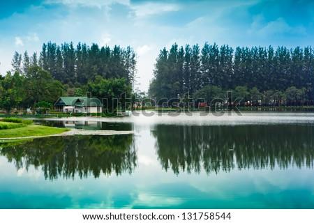 Lake on the Mae Moh lignite mine, Lampang, Thailand. - stock photo