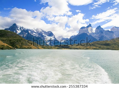 Lake Pehoe and Los Cuernos in Torres del Paine National Park in Patagonia, Chile - stock photo