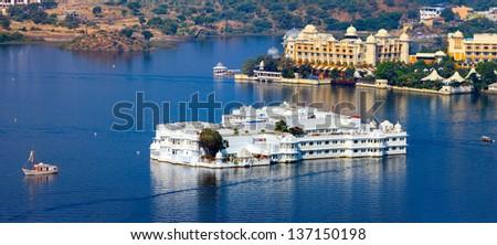 Lake Pichola and Taj Lake Palace , Udaipur, Rajasthan, India, Asia. Panorama. - stock photo