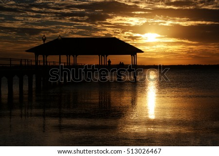Lake, Pier and Sunset