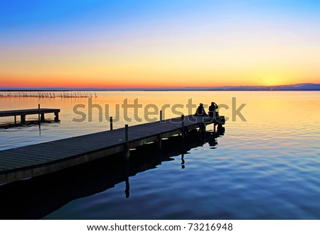 lake piers - stock photo