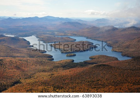 Lake Placid in fall Lake Placid view from top of Whiteface Mountain in fall, Adirondack Mountain, New York State - stock photo