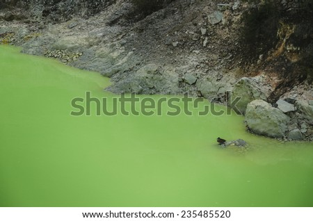 Lake polluted by toxic waste - stock photo