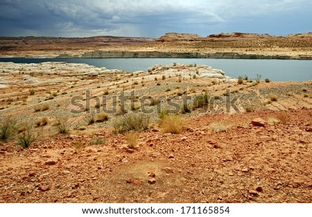 Lake Powell Landscape. Northern Arizona State Lake Powell and Rocky Desert. Arizona, United States. - stock photo